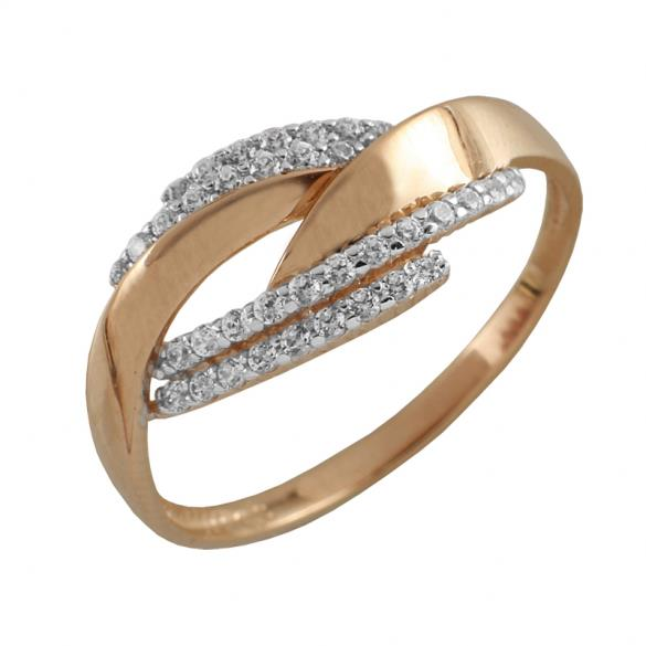 Кольцо серебряное с позолотой Фианит арт. 3497-4 3497-4