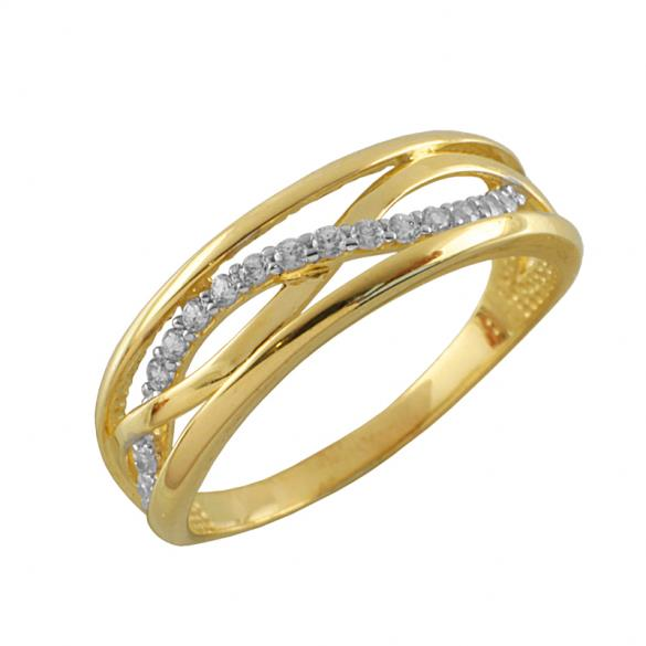 Кольцо серебряное с позолотой Фианит арт. 3621-4 3621-4