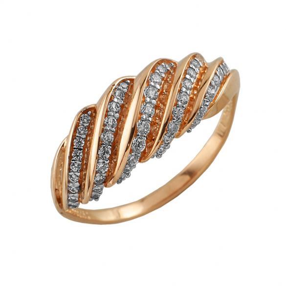 Кольцо серебряное с позолотой Фианит арт. 3709-4 3709-4