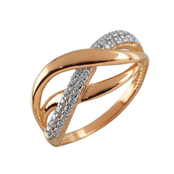 Кольцо серебряное с позолотой Фианит арт. 3878-4 3878-4