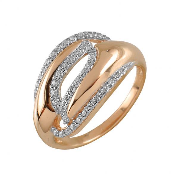 Кольцо серебряное с позолотой Фианит арт. 3971-4 3971-4