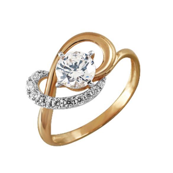 Кольцо серебряное с позолотой Фианит арт. 4294-4 4294-4