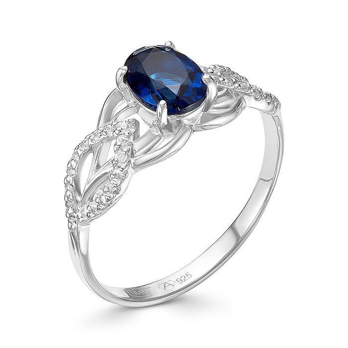 Серебряное кольцо Сапфир и Фианит арт. 01-0269/00кс-00 01-0269/00кс-00