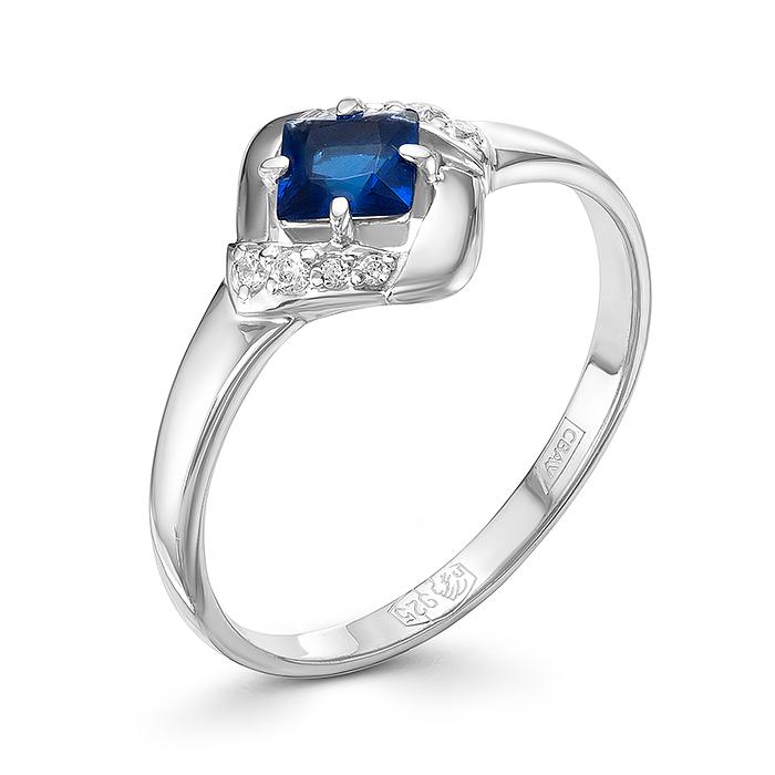 Серебряное кольцо Сапфир и Фианит арт. 01-0270/00кс-00 01-0270/00кс-00