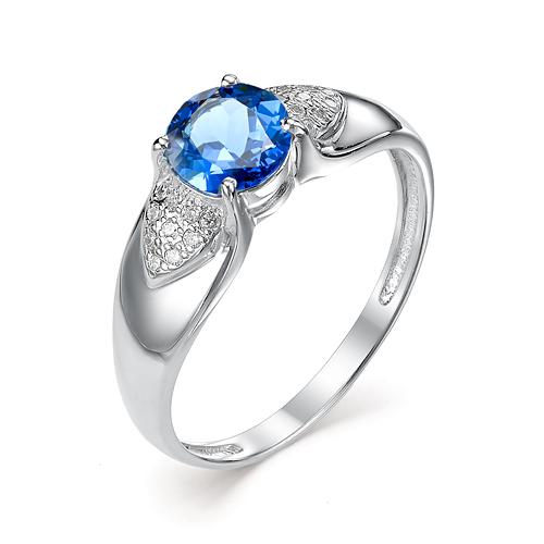 Серебряное кольцо Сапфир и Фианит арт. 01-0325/00кс-00 01-0325/00кс-00