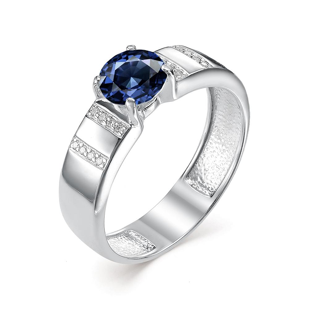 Серебряное кольцо Сапфир и Фианит арт. 01-0326/00кс-00 01-0326/00кс-00