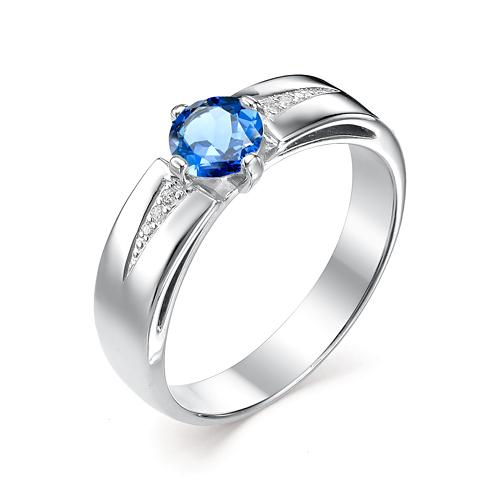 Серебряное кольцо Сапфир и Фианит арт. 01-0327/00кс-00 01-0327/00кс-00