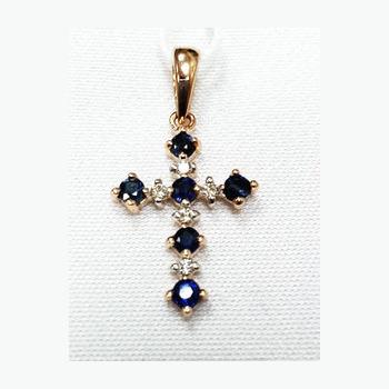 Золотой крест с бриллиантом и сапфиром арт. 550051-15 550051-15