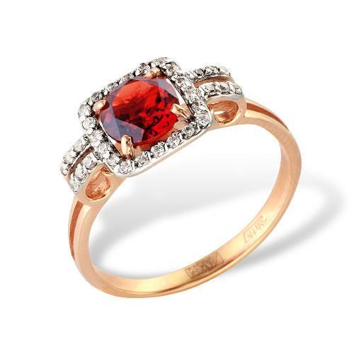 Золотое кольцо Гранат и Фианит арт. 1180602 1180602