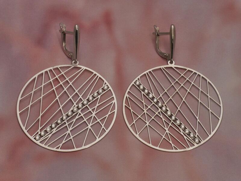 Серебряные серьги с стразом 2126012/9