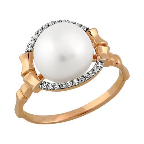 Золотое кольцо Жемчуг и Фианит арт. 11801545 11801545