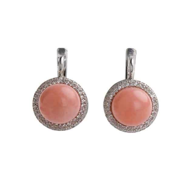Серебряные серьги с жемчугом и фианитом арт. 4с-5056-04 4с-5056-04