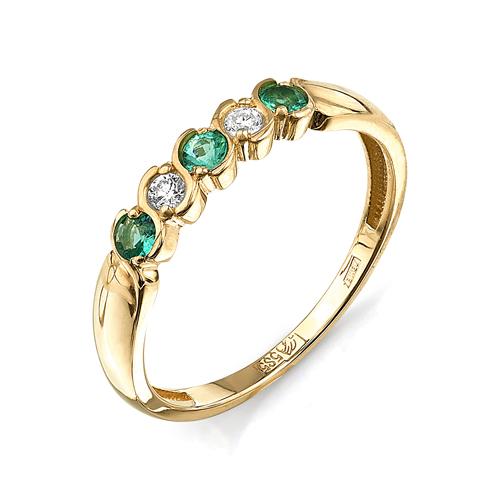 Кольцо из лимонного золота Изумруд арт. 44000107 44000107