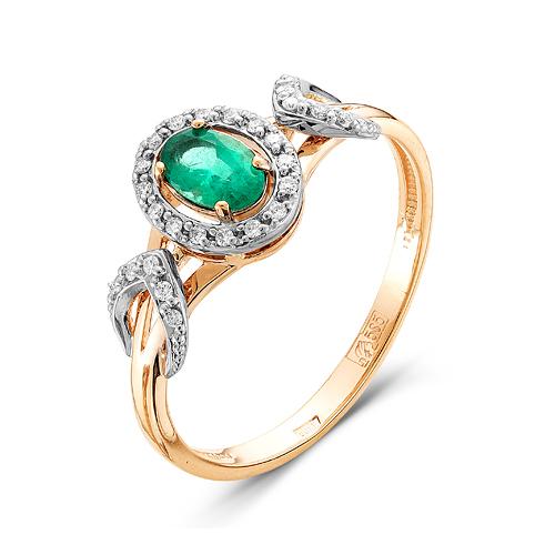 Золотое кольцо Бриллиант и Изумруд арт. 54000125 54000125