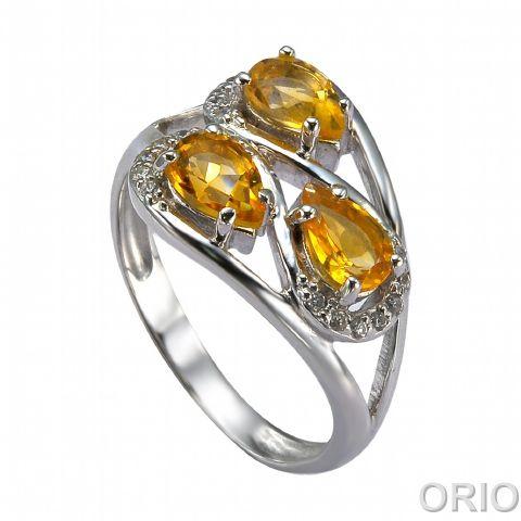 Серебряное кольцо Фианит и Цитрин арт. 41100148 41100148