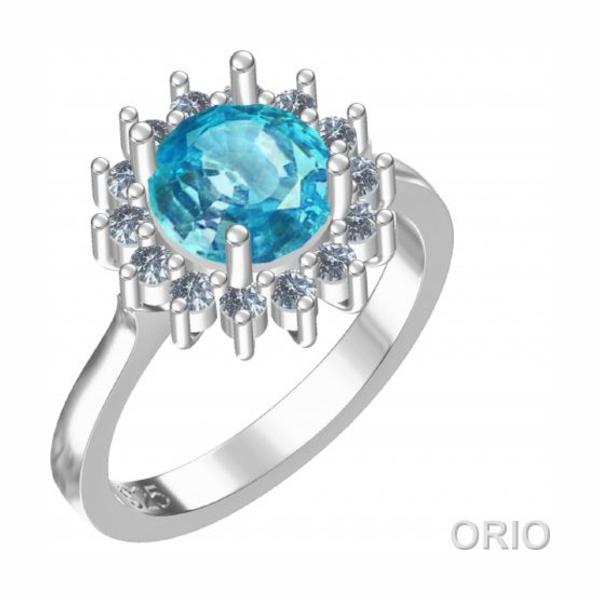 Серебряное кольцо Топаз и Фианит арт. 41110050 41110050