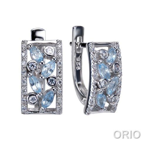 Серебряные серьги с топазом и фианитом арт. 41200149 41200149