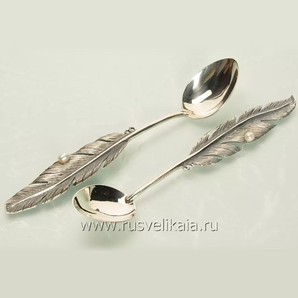 Чайная ложка из серебра арт. б09 перо б09 перо