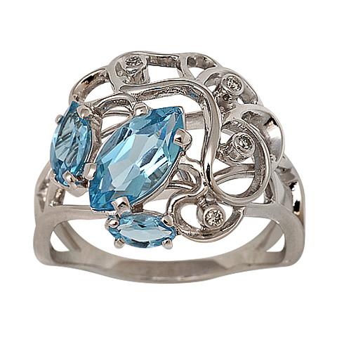 Кольцо из белого золота Бриллиант и Топаз арт. 1-01276 1-01276