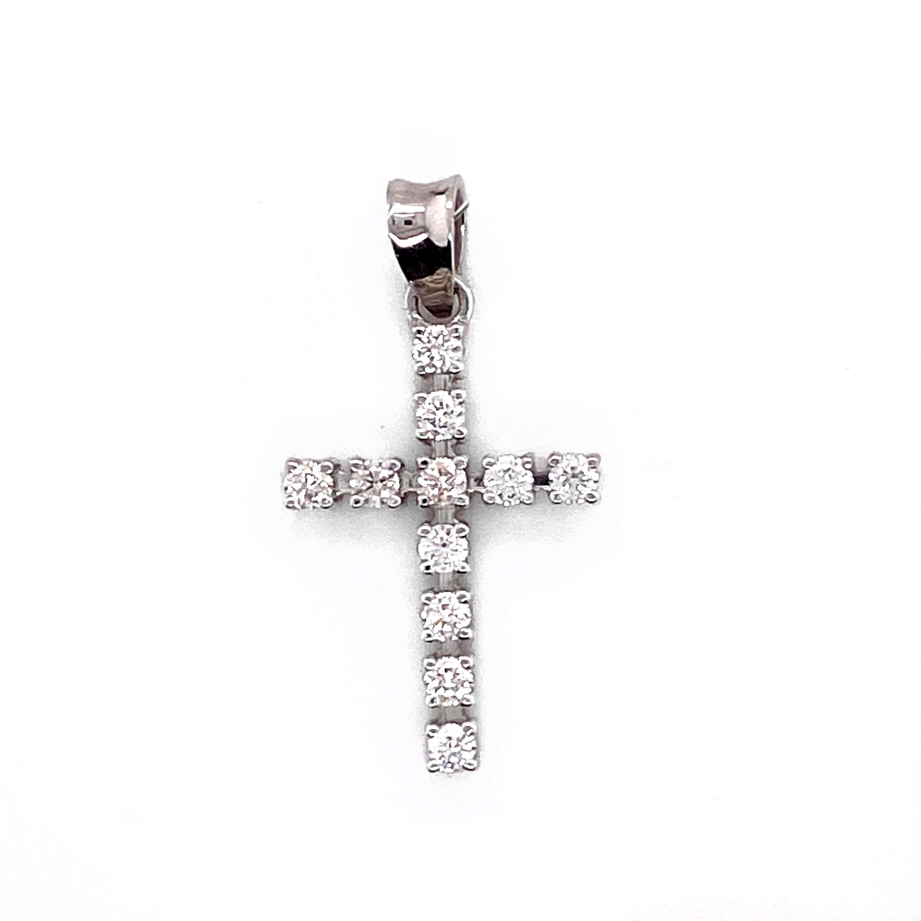 Крест из белого золота с бриллиантом арт. 01п111-01 01п111-01