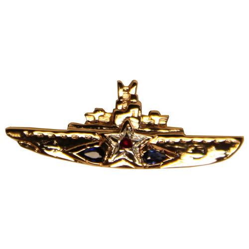 Золотой значок с рубином и сапфиром арт. 555001-15 555001-15