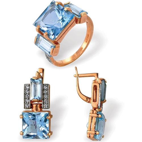 Серебряное кольцо Топаз и Фианит арт. 4к-674-04 4к-674-04