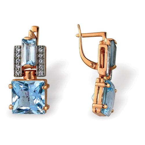 Серебряные серьги с топазом и фианитом арт. 4с-674-04 4с-674-04