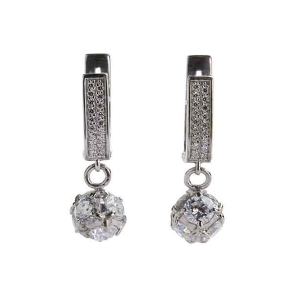 Серебряные серьги с фианитом и цитрином арт. 4с-5089-04 4с-5089-04