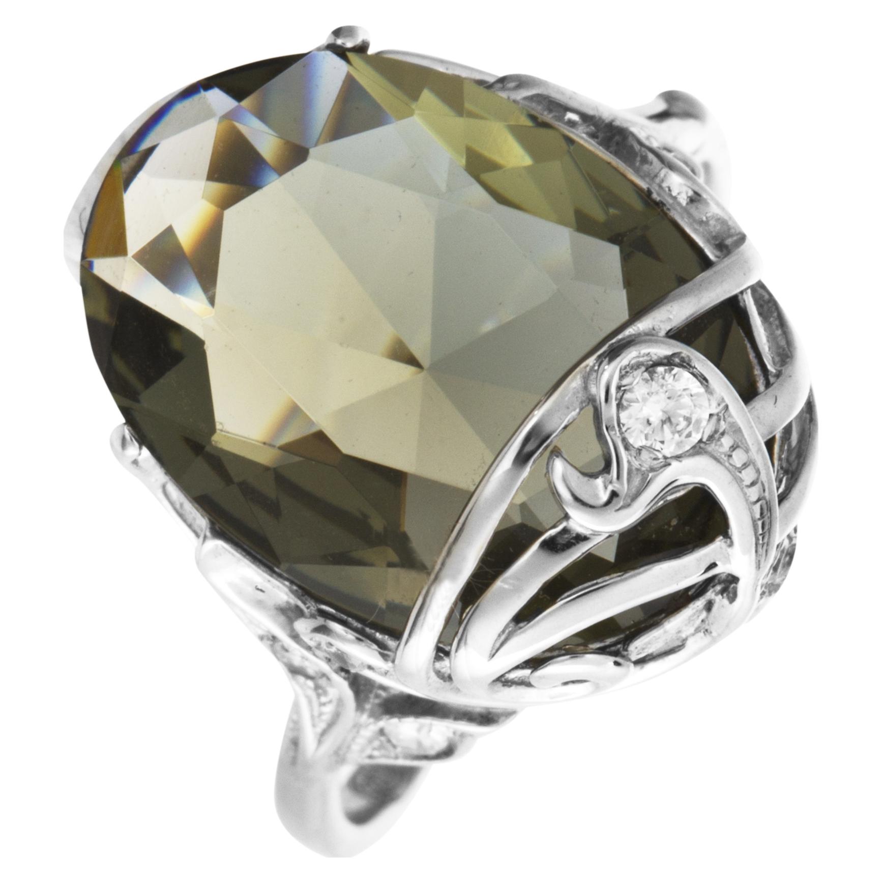 Серебряное кольцо Кварц и Фианит арт. 4к-80515-04 4к-80515-04