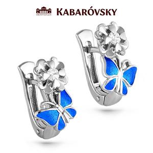 Серебряные серьги с кристаллом сваровски арт. 12-064 12-064