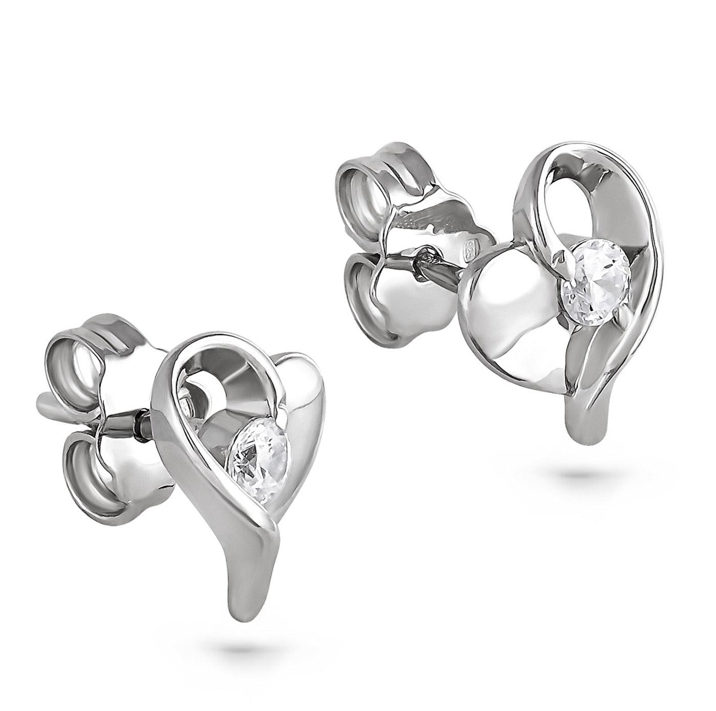 Серьги пусеты из серебра с кристаллом сваровски арт. 2-015 2-015