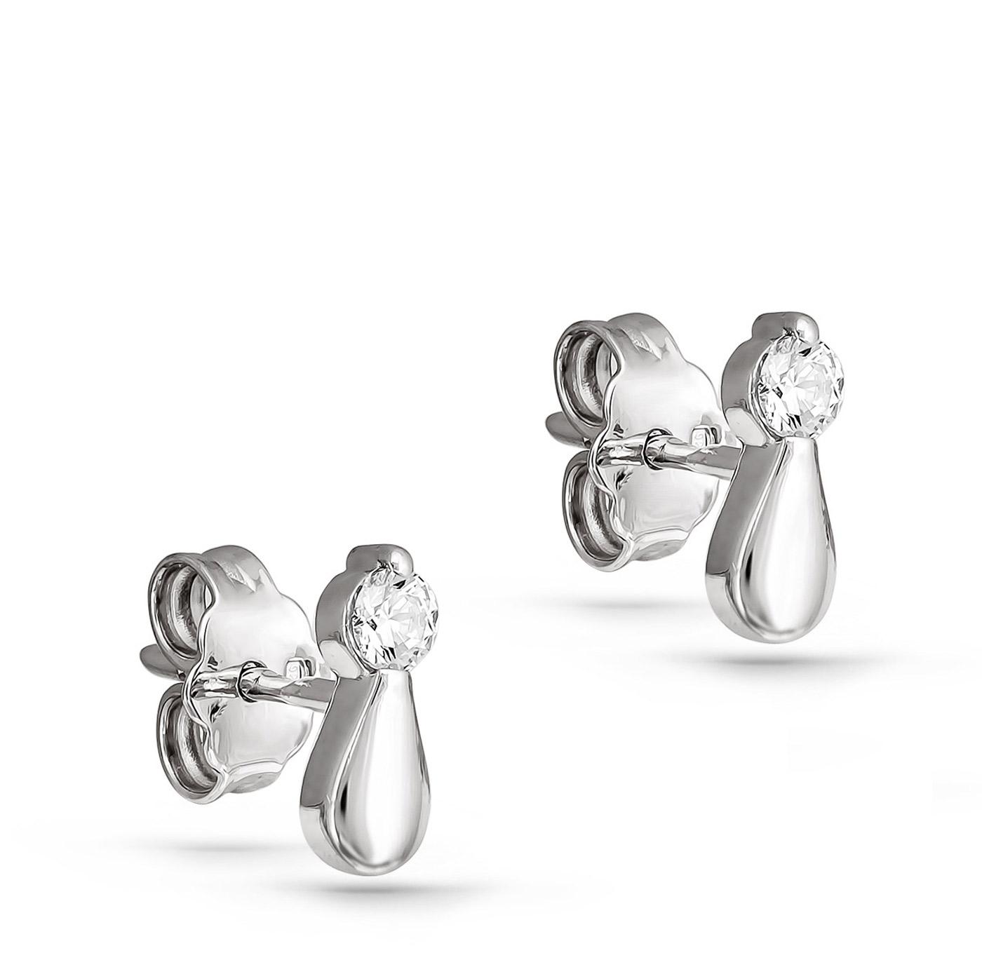 Серьги пусеты из серебра с кристаллом сваровски арт. 2-018 2-018