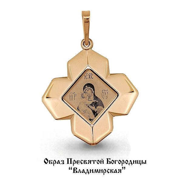 Иконка-подвес из золота Владимирская Божия Матерь арт. 14558 14558