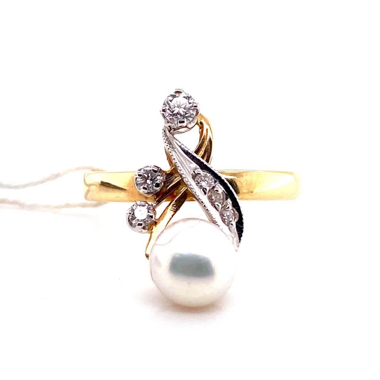 Кольцо из лимонного золота Бриллиант и Жемчуг арт. г1830 г1830