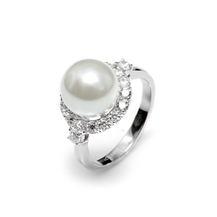 Серебряное кольцо Жемчуг и Фианит арт. r907881 r907881