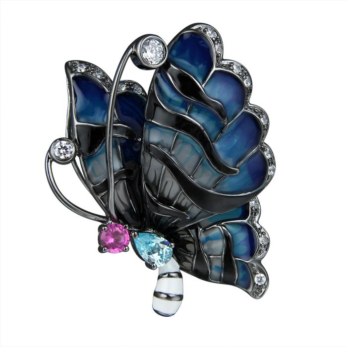 Серебряная брошь с цирконием и эмалью арт. sh051-zlaq-b3 sh051-zlaq-b3