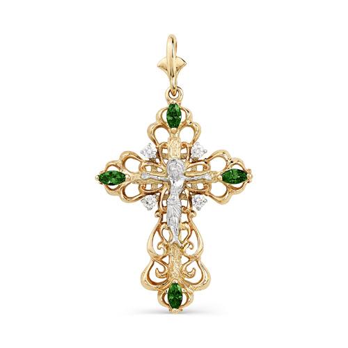 Золотой крест с бриллиантом и изумрудом арт. 3270-101 3270-101
