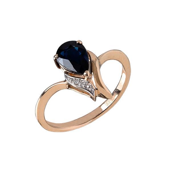 Золотое кольцо Бриллиант и Сапфир арт. 911232с 911232с