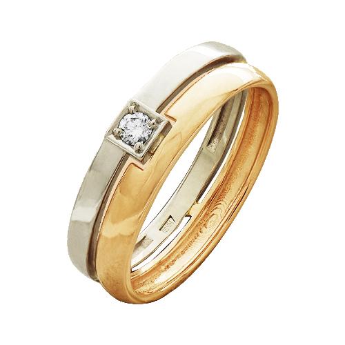 Обручальное кольцо из золота с бриллиантом арт. 825-110 825-110