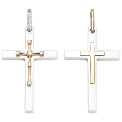 Золотой крест с керамикой и кристаллом сваровски арт. 3300911 3300911