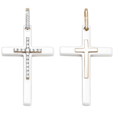 Золотой крест с керамикой и кристаллом сваровски арт. 3300951 3300951