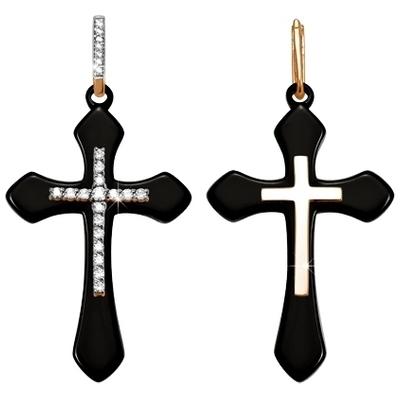 Золотой крест с керамикой и кристаллом сваровски арт. 3300901 3300901