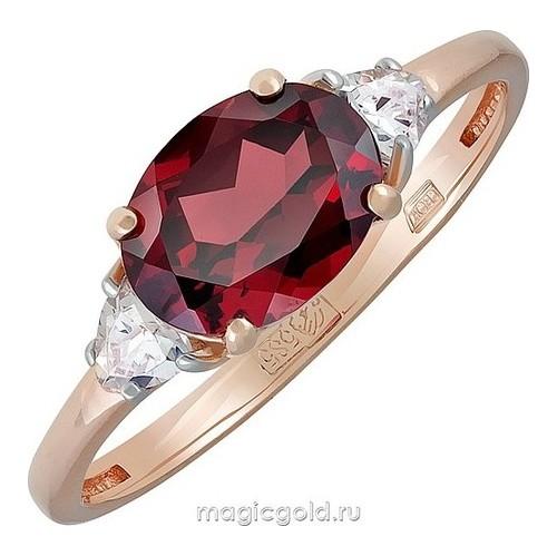 Золотое кольцо Гранат и Фианит арт. кл-665к-г кл-665к-г