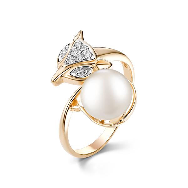 Золотое кольцо Жемчуг и Фианит арт. 21087A2 21087A2