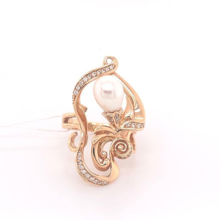 Золотое кольцо Бриллиант и Жемчуг арт. 91622074 91622074