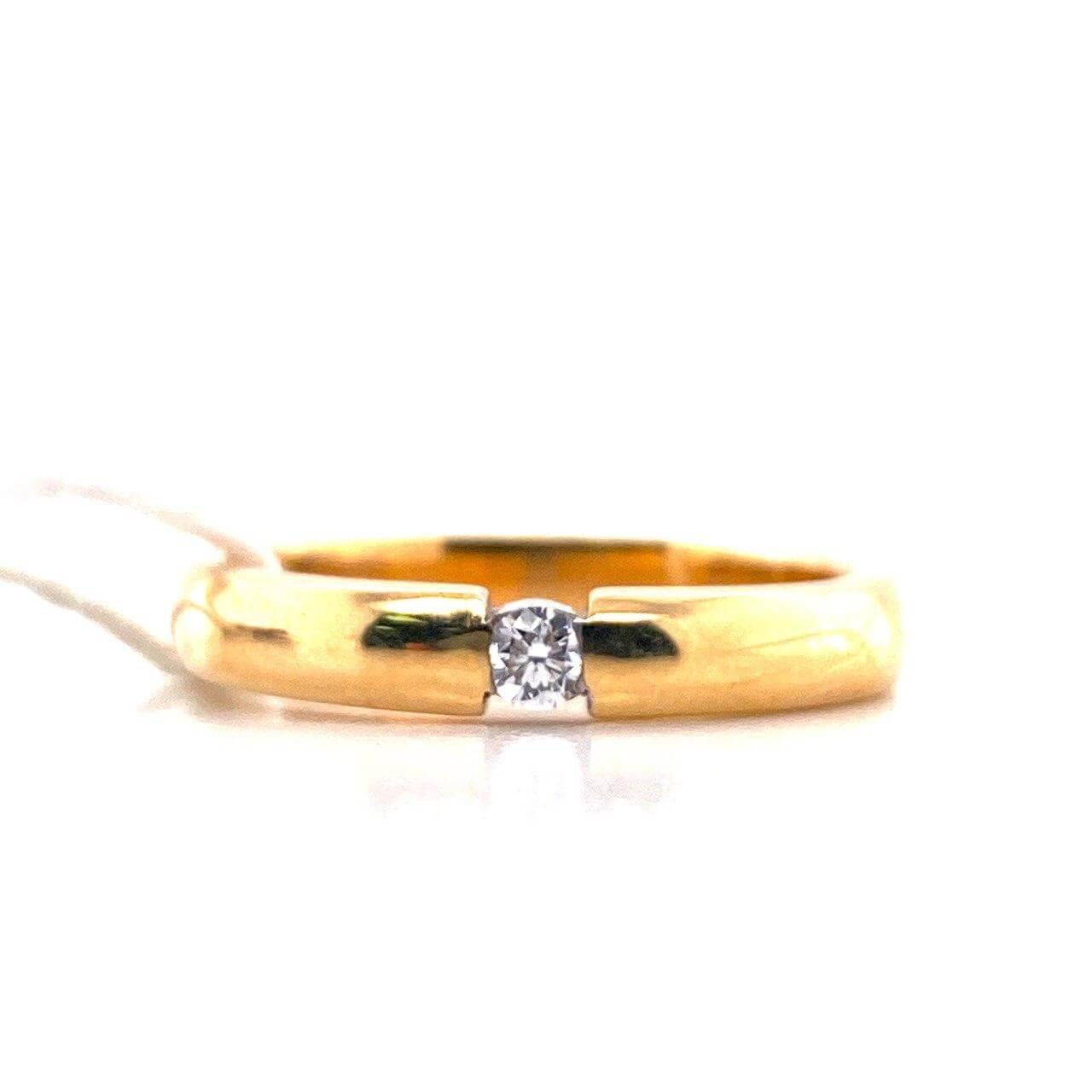 Обручальное кольцо из лимонного золота с бриллиантом арт. г6090 г6090