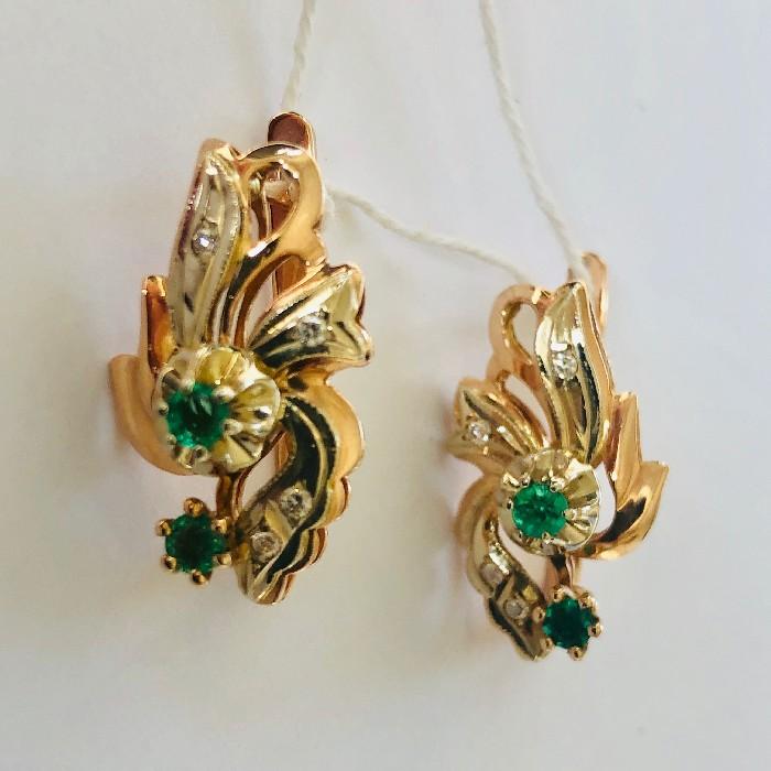 Золотые серьги с бриллиантом и изумрудом арт. г3095 г3095