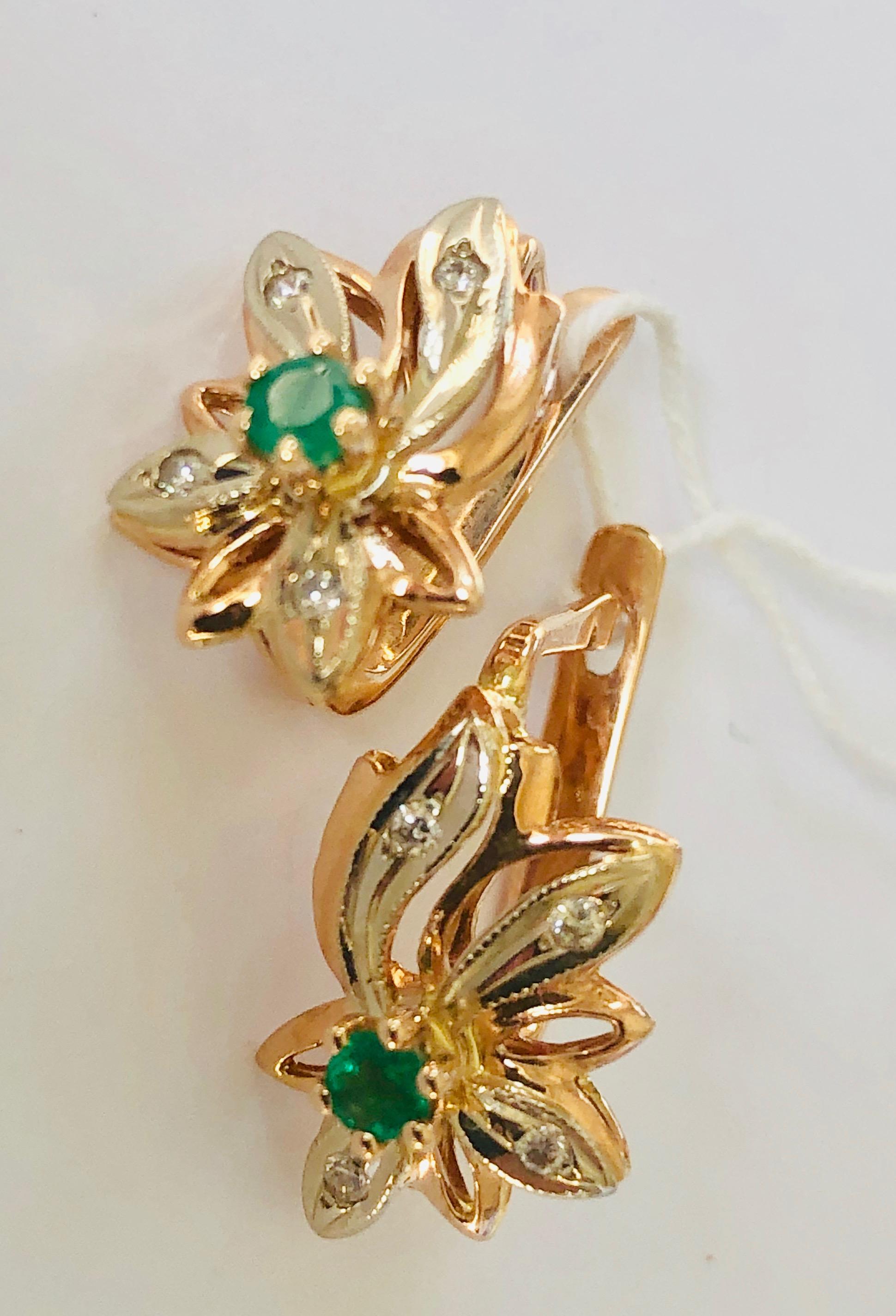 Золотые серьги с бриллиантом и изумрудом арт. г5045 г5045