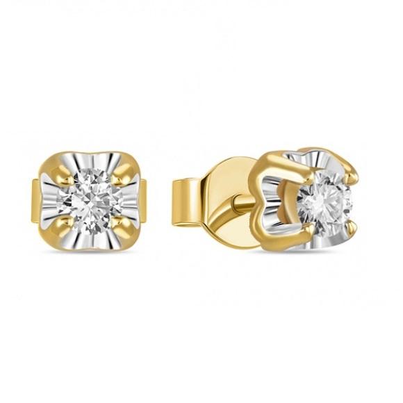 Серьги пусеты из золота с бриллиантом арт. e01-d-sol28-020-g3 e01-d-sol28-020-g3