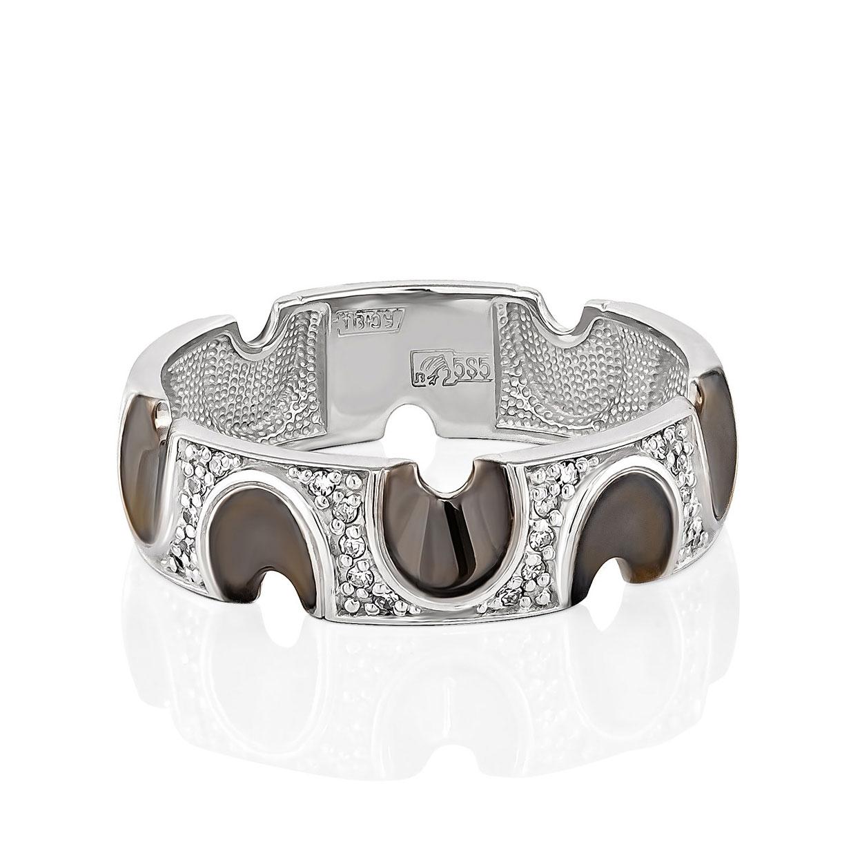 Обручальное кольцо из белого золота с бриллиантом арт. 1-1369-1000 1-1369-1000